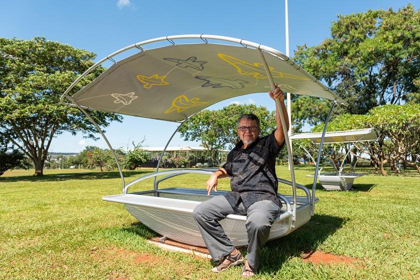 Darlan Rosa e o projeto Casulo interativo/Foto: Telmo Ximenes (54)