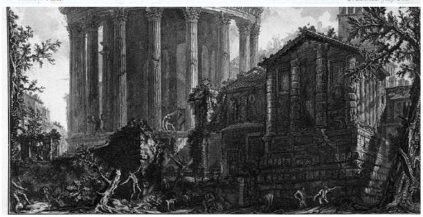 Imagens Impressas/Veduta del Tempio della Sibila in Tivole, de Giovanni-Batista Piranesi.