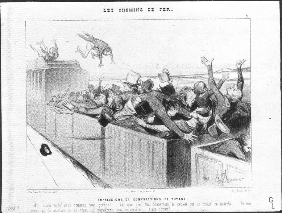 Imagens Impressas/Impressions et Compressions de Voyage, da série Le Chemin de Fer, de Honoré Daumier