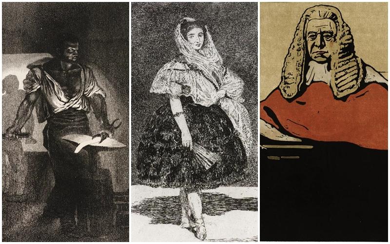 Imagens Impressas/Le Forgeron, de Eugène Delacroix; Lola de Valence, de Manet,e Ultime Ballade, de Toulouse Lautrec