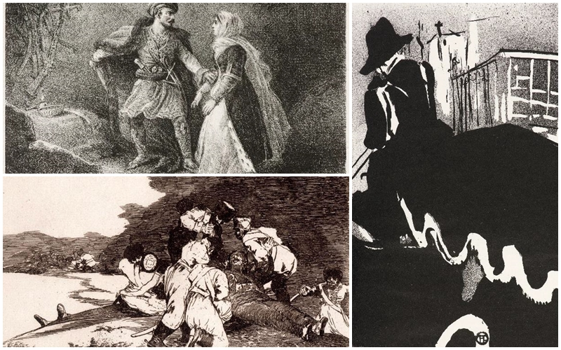 Imagens Impressas/La Fiancée d'Abydos, de Theodore Gericault, Sir Henry Hawkins, de William Nicholson, e Bien lo Sé Esta, de Goya