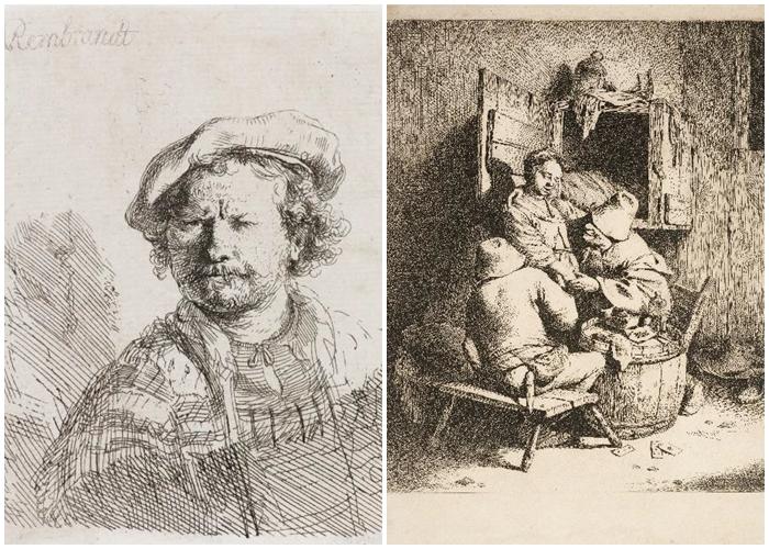 Imagens Impressas/Autorretrato, de Rembrandt Van Rijn, e Cena de Taberna, de Andrian von Ostade